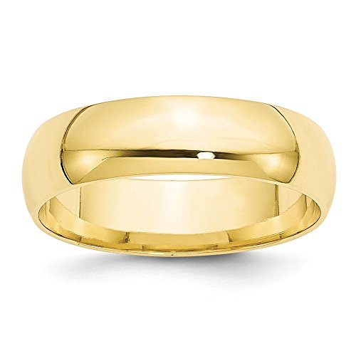 10k Yellow Gold 6mm Engravable Comfort Fit Band