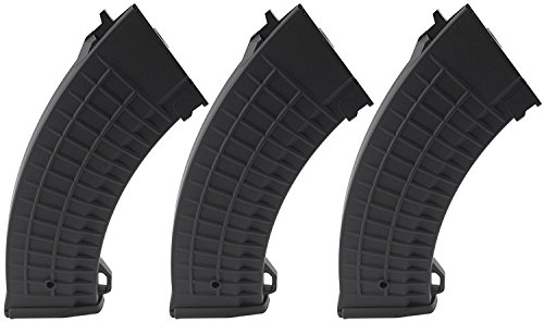 SportPro CYMA 150 Round Polymer Thermold Waffle Medium Capacity Magazine for AEG AK47 AK74 3 Pack Airsoft - Black (Best Ak 47 Airsoft)