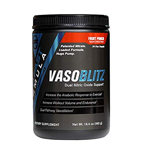VASOBLITZ Nitric Oxide Pre Workout Supplement Powder with L-Citrulline, Betaine Anhydrous, Arginine NO3T, Calcium Lactate & Caffeine Free for Pumps, Endurance & Muscle Growth, Fruit Punch-30 Servings Review