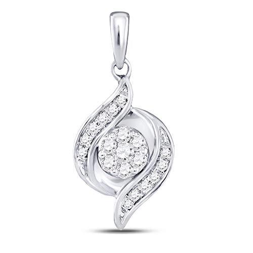 Jawa Jewelers 14kt White Gold Womens Round Diamond Flower Cluster Pendant 1/5 Cttw