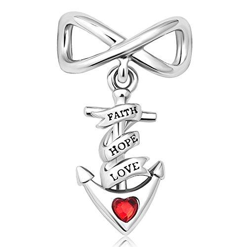 Charm Hope Love Faith Heart - Q&Locket Faith Hope Love Infinity Charms Heart Anchor Charm Beads for Bracelets (Red)