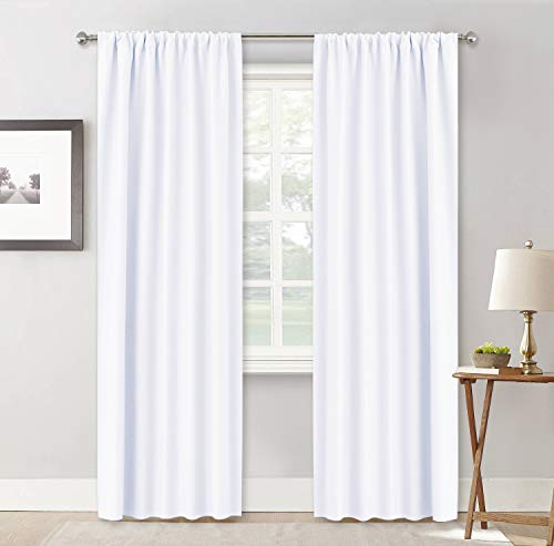 RYB HOME Privacy Window Curtains, Sunlight & UV Shades with Rod Pocket Header Type 50% Room Darkening for Bedroom Bath Office Living Room, 42 x 84 inch, Pure White, 1 Pair