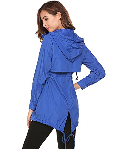 Women Solid Raincoat Meaneor Blue Sleeve Long with Hoodie Drawstring Lightweight Jackets OFqgBaw