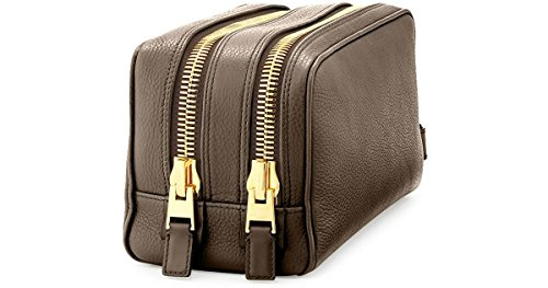 Tom Ford Gray Leather Double Zip Toiletry Bag by Tom Ford.