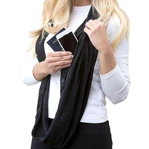 Women's Soft Blanket Scarf Stylish Cozy Tartan Scarves Wrap Loop Shawl Infinity Scarves Zipper Pocket (Black, Free Size: 70.8''X19.6' inch) from Appoi Scarf