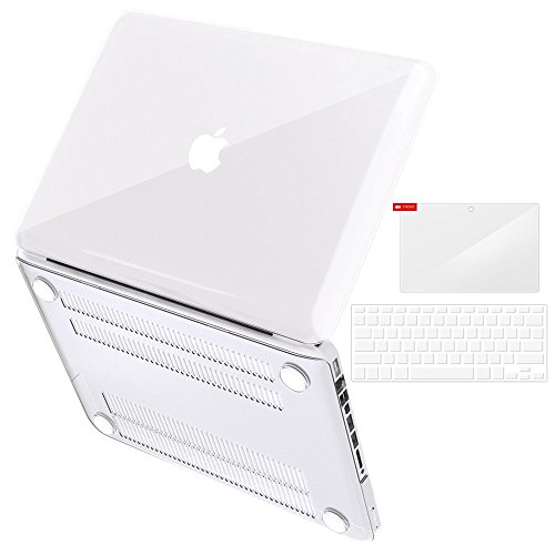 """iBenzer Basic Soft-Touch Series Plastic Hard Case, Keyboard Cover, Screen Protector for Apple MacBook Pro 13-inch 13"""" with CD-ROM A1278 (Previous Generation), Crystal (Jack London Cabernet)"""