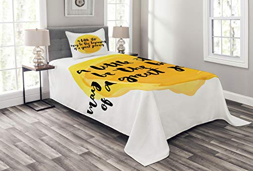 Lunarable Lifestyle Bedspread Set Twin Size, A Little Step May be The Beginning of a Great Journey Quote Inspiration, Decorative Quilted 2 Piece Coverlet Set with Pillow Sham, Earth Yellow Black