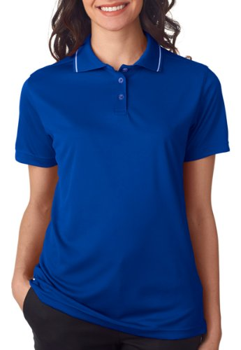 S/s Tipped Collar - UltraClub Ladies' Polo with Tipped Collar - Royal/ White - S