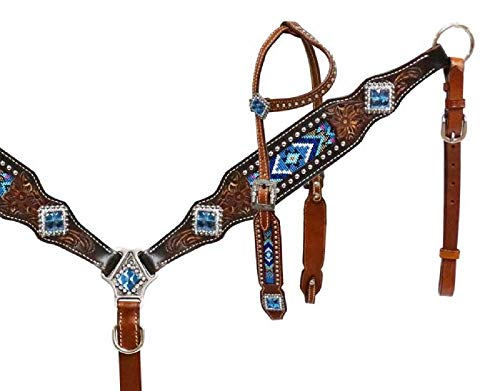- Showman Turquoise Royal Blue Pink Beaded Navajo Inlay Rhinestone Concho Headstall Breast Collar Set