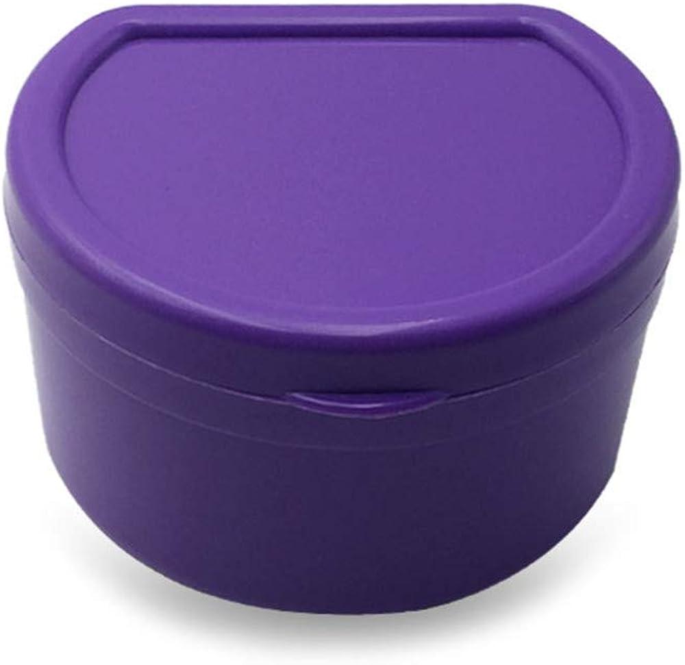 ❤SU&YU❤Denture Bath Box Case Dental False Teeth Storage Box with Hanging Net Container