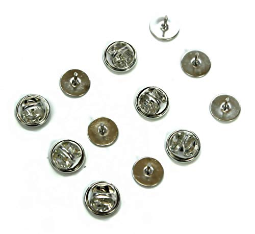 ALL in ONE Butterfly Clutch Tie Tacks Pin Backs with Blank Pins for DIY Craft (Silver 50 Pairs) (Tack 1)