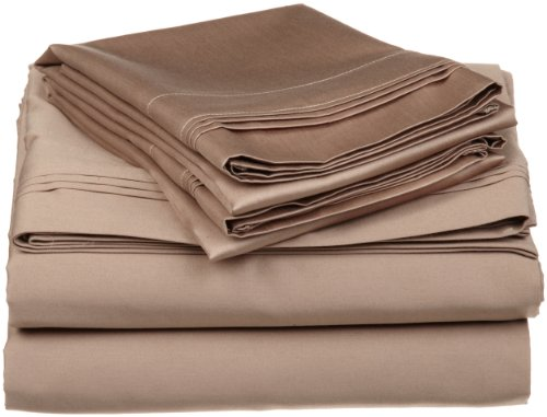 Pads Sateen Cotton Egyptian Mattress (100% Egyptian Cotton 650 Thread Count, Split King 5-Piece Sheet Set, Deep Pocket, Single Ply, Solid, Taupe)