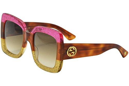 Gucci 0083 002 Fuchsia Havana Gold Glitter GG0083S - Gucci Sunglasses Woman
