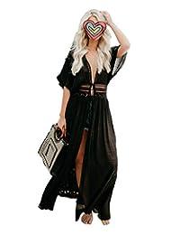 Traje de baño kimono de mujer Vestido de fiesta Vestido de baño maxi bikini Trajes de baño (White, XL)