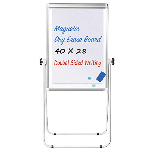 Stand White Board - 40x28 Magnetic Dry Erase Board w/Flipchart Pad Double Sided Easel Board Portable Whiteboard Silver