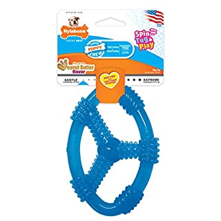 Nylabone Puppy Chew Ring Dog Toy Peanut Butter, Blue