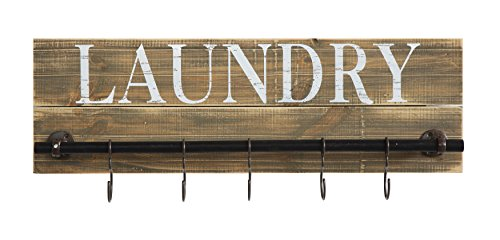 3 Casual Country Wood Laundry Plaque with Hanging Hooks (Hook Plaque)