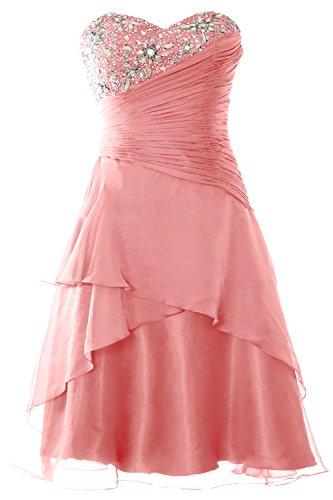 MACloth Party Cocktail Short Dress Women Gown Zartrosa Formal Prom Strapless Tiered rrFnq0a