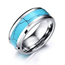 White Tungsten Ring Mens Wedding Band Turquoise Inaly High Polished Flat Top Beveled Edge,8mm Width