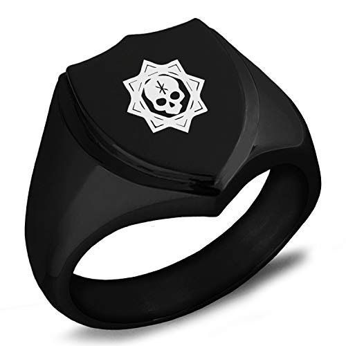 Tioneer Black IP Plated Stainless Steel Necromancy Magic Rune Shield Biker Style Polished Ring, Size 12