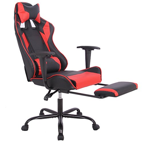 Office Chair Gaming Chair Ergonomic Swivel Chair High Back Racing Chair, With Footrest, Lumbar Support and Headrest by BestMassage