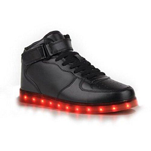 [Presente:pequeña toalla]JUNGLEST® 7 Colores USB Carga LED Luz Glow Luminosos Light Up Flashing Sneakers Zapatos Deportivos de Alto-Top Negro