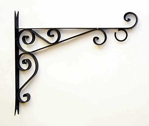Decorative Wrought Iron Wall Bracket for Hanging. Painted Black-15 Inches High x 17 Inches Deep For Sale