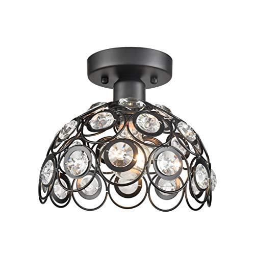Flush Semi Crystal - Dazhuan Crystal Semi Flush Mount Ceiling Light Metal & Crystal Half Globe Art Deco Kitchen Lighting Fixture, Black