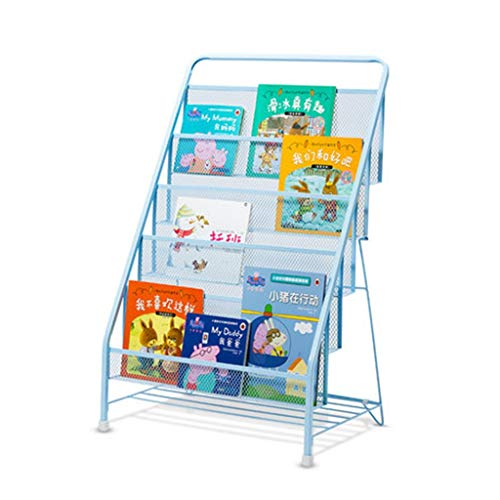 Bookcases Bookshelf Metal Floor-Standing Bookshelf Smooth No Burr Simple Large Capacity Magazine Rack Newsletter Data Stand Living Room Children Storage (Color : Blue, Size : - Stand Magazine Floor Pocket Seven