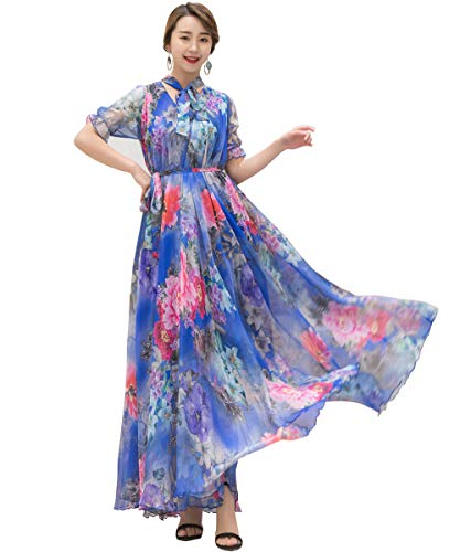 Medeshe Women's Summer Floral Long Beach Maxi Dress Lightweight Sundress (Blue Peony Flower, Small) (Peonies Hawaii)