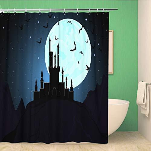 Awowee Bathroom Shower Curtain Moon Halloween Dracula Castle Dungeon Transylvania Vampire Mystical Night 72x72 inches Waterproof Bath Curtain Set with Hooks]()