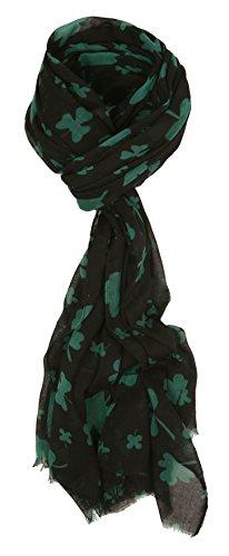 St Patrick's Day Shamrock Green & White Irish Fashion Scarf Shamrock Black (Scarf Day Bag)