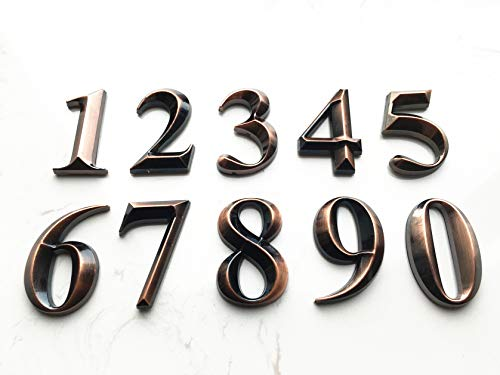 - 10 Pack Self Stick House Numbers Door Address Sign Stickers for Mailbox Apartment Hotel Condo Bronze 2 inch High (10 Pack 0-9 2