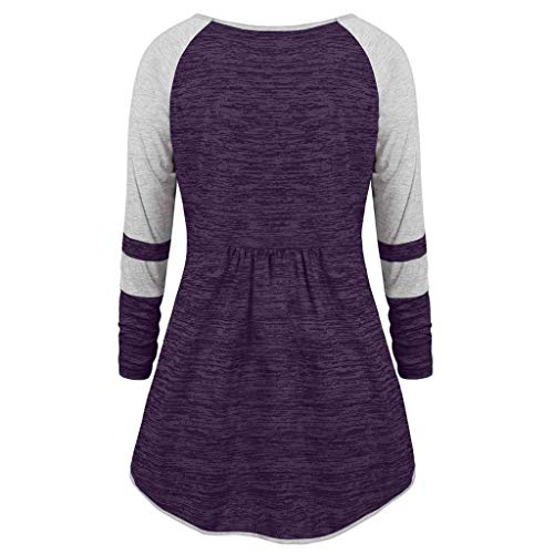 Moda V Superiore Size Block Plus Color Patchwork Ruched Passacorde neck Nastri Viola Donna ACZZqTxndw