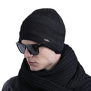 CACUSS Mens Winter Wool Beanie Hat Warm Knit Hat Ski Cuff Beanie Thick Fleece Lined Skull Cap
