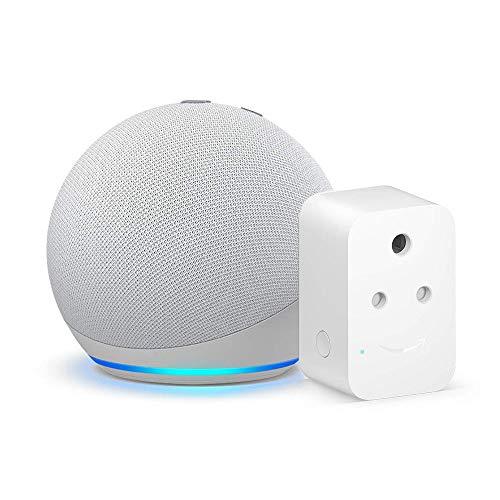Echo Dot (4th Gen, White) bundle with Amazon 6A Smart Plug – Easy Set-Up