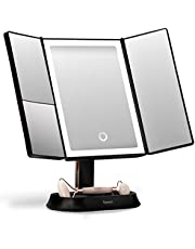 Fancii Makeup Mirror with Natural LED Lights, Lighted Trifold Vanity Mirror with 5X & 7X Magnifications - Dimmable Lights, Touch Screen, Cosmetic Stand - Sora