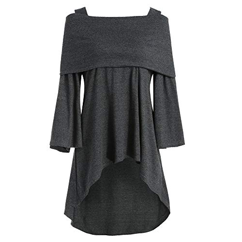 Fashion 815 Tops in Londony ♥‿♥ Women's Off The Shoulder Flare Sleeve Tunic Asymmetrical Long Fold T-Shirt Blouse