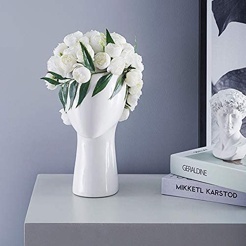 JCPIING Head Shape Creative Ceramic Cool Artificial Flower Vase Modern Home Decorations Interior Ornaments Diplay Decors Artwork Without Artificial Flower Glossy White