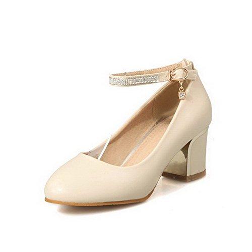 VogueZone009 Damen Schnalle Niedriger Absatz PU Leder Eingelegt Rund Zehe Pumps Schuhe Cremefarben
