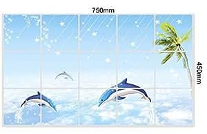 Etude House 45x 75cm pegatinas de pared para cocina prueba de aceite de Vinilo Splashing diseño pegatina de pared decoración (diseño de delfín)
