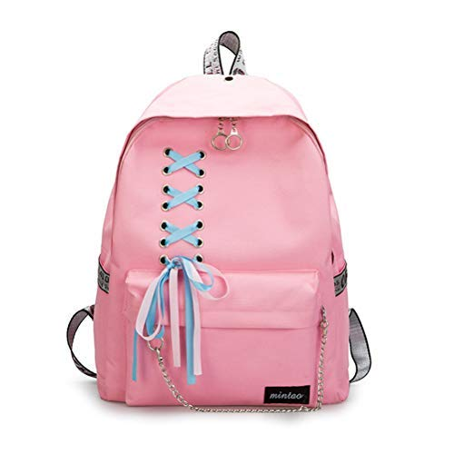 (SHXKUAN Teen Girl School Backpack 12-16 inch Laptop Bag Canvas Shoulder Handbag for Travel Daypack Camping (Pink))