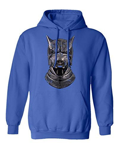 TMB Apparel New Novelty Shirt of Thrones Shirt Distressed Hounds Helm Men's Hoodie Hooded Sweatshirt (Royal, XXXX-Large) -