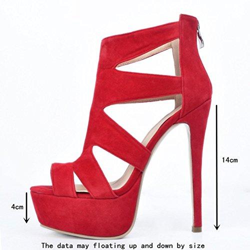 Kolnoo Damen Faschion 14cm Absatz geöffnete Zehe Plattform Partei Abschlussball Sandelholz Schuhe Red