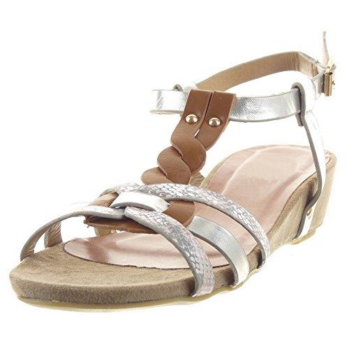 Schlangenhaut Damen Sandalen spange Schuhe T Mode Multi Glänzende zaum Sopily Rosa Plateauschuhe Römersandalen zqtwdCd4n