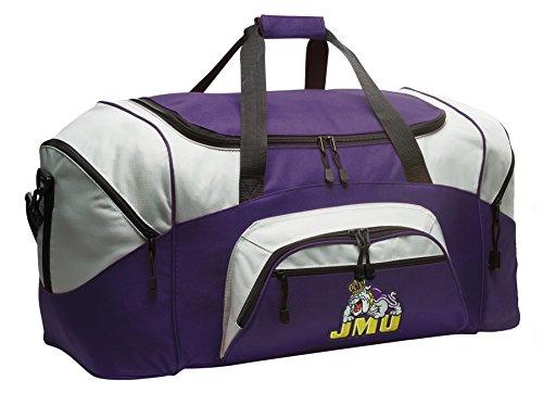 Large James Madison University Duffle Bag JMU Gym Bags Purple by Broad Bay