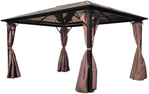 Anself - Cenador con cortinas marrones, resistente a la intemperie, 400 x 300 cm: Amazon.es: Jardín
