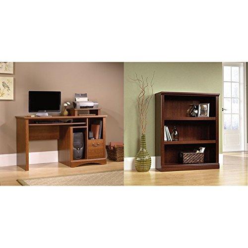 (Sauder Camden County Computer Desk, Planked Cherry Finish + Sauder 3-Shelf Bookcase, Select Cherry Finish_Bundle )