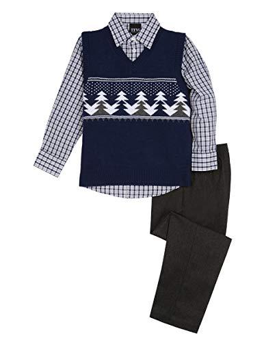 TFW Dresswear Little Boys' Sweater Vest Set, Midnight Trees, 3 (Midnight Tree)