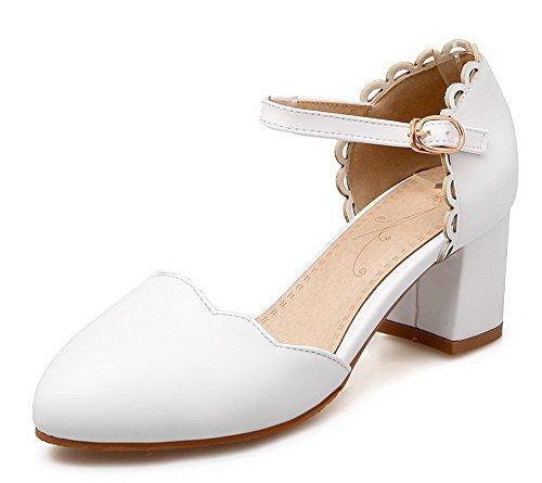 Flats Medio Tonda Donna Ballet Bianco Puro Tacco Luccichio AgooLar Punta Fibbia EP0qWzp